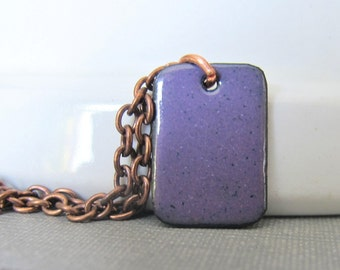 Purple Necklace, Enameled Necklace, Copper Necklace, Enameled Copper, Dark Violet, Geometric  Necklace, Purple Tile, Copper Chain