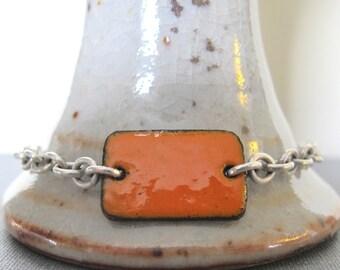 Orange Bracelet, Enamel Bracelet, Silver Bracelet, Enameled Copper, Silver Chain, Chain Bracelet, Orange Rectangle, Geometric Jewelry
