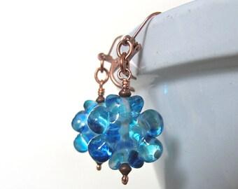 Glass Earrings, Copper Earrings, Blue Earrings, Ocean Blue Earrings, Aquamarine Glass, Dangle Earrings, Flower Earrings, Copper Jewelry