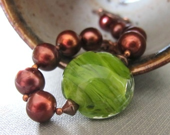 Brown Pearl Bracelet, Chestnut Brown Pearls, Spring Green Glass, Lampwork Glass, Copper Bracelet