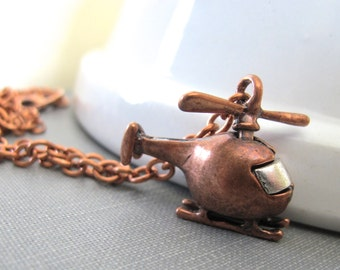 Helicopter Necklace, Copper Necklace, Copper Helicopter, Pendant Necklace, Whirly Bird, Copper Chain, Copper Jewelry, Aviation Jewelry