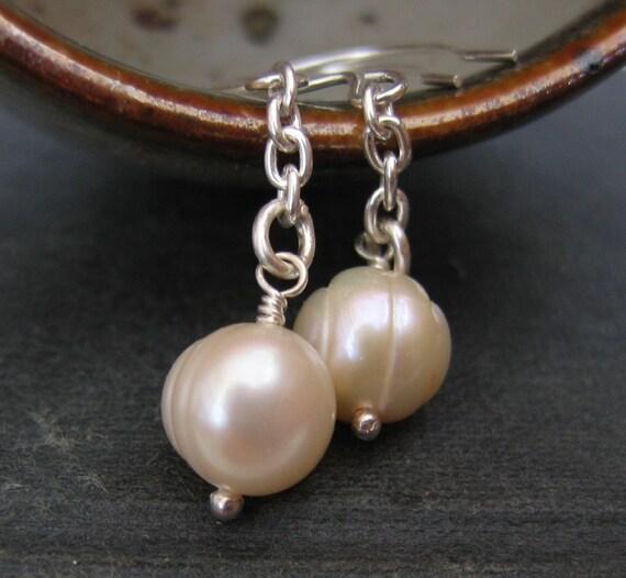 Silver Earrings, Pearls Earrings, White Pearls, Pearl Jewelry, Sterling Silver Earrings, Ivory White Pearls