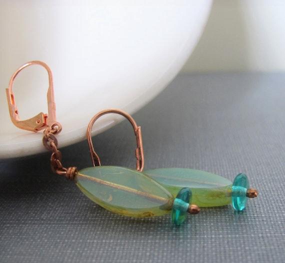 Glass Earrings, Copper Earrings, Copper Chain, Torpedo Fish, Czech Glass, Aqua Green Glass, Copper Jewelry