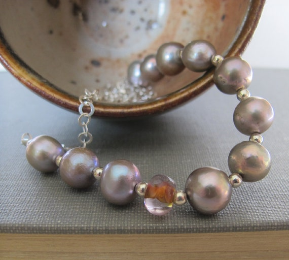 Grey Pearl Necklace, Pearl Jewelry, Beaded Necklace, Silver Chain, Silver Grey Pearls, Apricot Glass, Freshwater Pearls