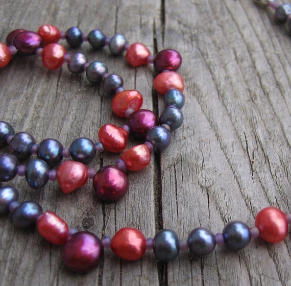 Pearl Necklace, Silver Necklace, Orange Pearls, Wine Pearls, Mauve Pearls, Beaded Necklace, Pearl jewelry, Beaded Jewelry