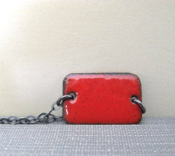 Red Enamel Necklace, Enameled Copper, Silver Chain, Chain Necklace, Red Rectangle, Geometric Jewelry, Silver Necklace