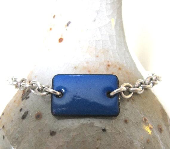 Blue Enamel Bracelet, Enameled Copper, Silver Chain, Chain Bracelet, Blue Rectangle, Geometric Jewelry, Silver Bracelet