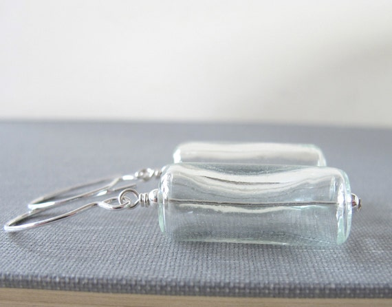 Clear Glass Earrings, Crystal Clear, Silver Earrings, Hollow Glass, Silver Jewelry, Glass Jewelry, Handmade Jewelry