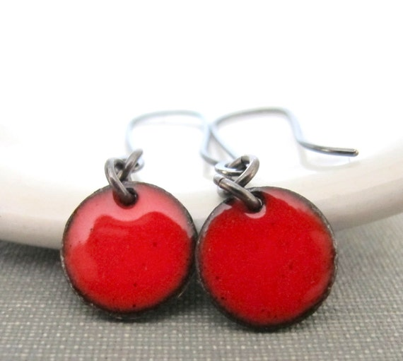 Red Earrings, Enameled Earrings, Enameled Copper, Round Red Circles, Red Dots, Silver Earrings, Geometric Jewelry, Silver Jewelry