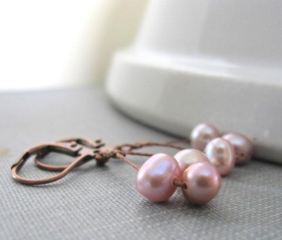 Pearl Earrings, Lavender Pearls,  Lavender Peach, Walnut Linen, Waxed Linen, Dangle Earrings, Oxidized Copper, Pearl Jewelry, Copper Jewelry