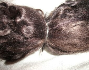 Dark brown combed real mohair locks doll wig hair