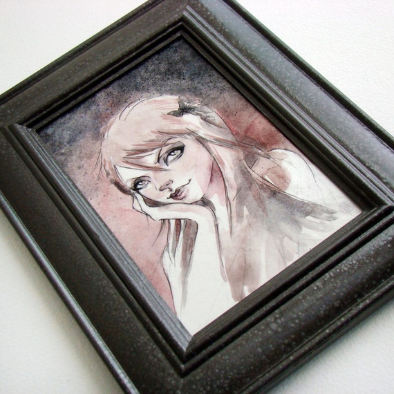 Original Framed Painting - Jenny - acrylic and ink with a handpainted gray hammered finish frame