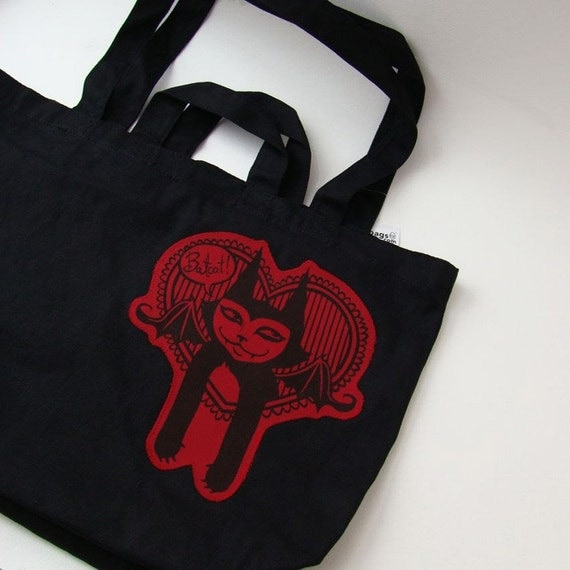 We Heart Batcat -Shopping tote with silkscreened patch-