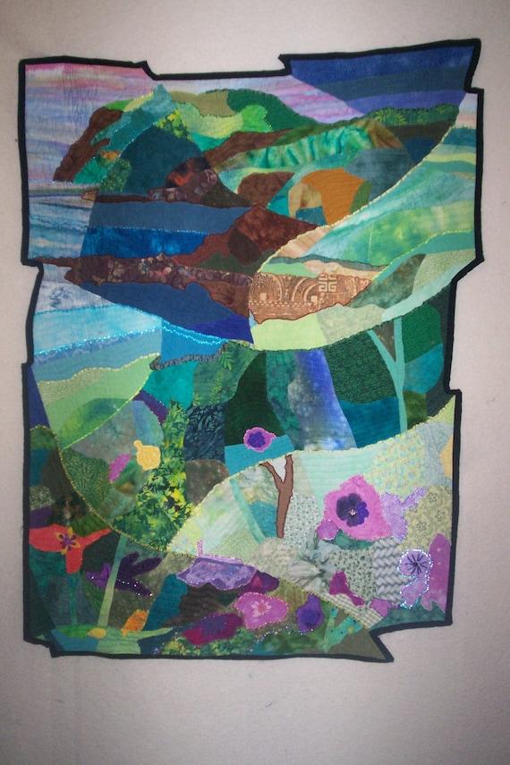 Fractured Landscape Art Quilt by Fiber Artist Tina Marie Rey
