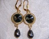 Black Diamond and Gold Elegance Earrings with Swarovski