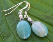 Amazonite and Bali Silver Earrings