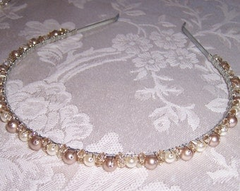 Champagne Toast Bridal Headband with Swarovski Crystals and Pearls