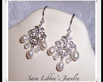 Romantic Wedding Day Freshwater Pearl Sterling Silver Swarovski Crystal Earrings