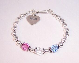 Mom 3  Birthstone Bracelet Sterling Silver and Swarovski Crystal