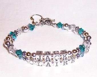 2 Strand Mothers Grandmothers  Name Bracelet with Sterling Swarovski and Gold
