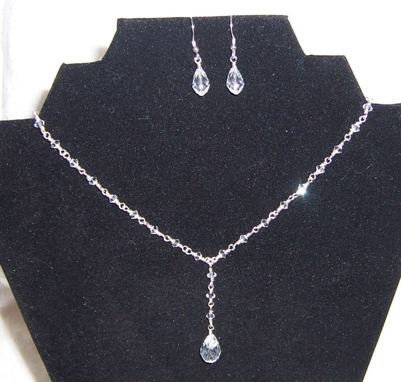 Stephanie Double Drop Bridal Necklace and Earring Set