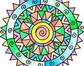 Coloring Book Kids Adults Play Crafts Toys Stocking Stuffer Spiral Abstract Mandala (PDF version)