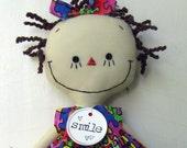Emily for Autism Awareness handmade cloth rag doll