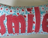 SMILE Pillow in Red Gingham and Aqua, Red and White Flowers handmade