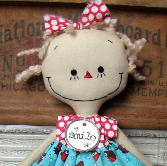 Gracie in a Robin Dress handmade cloth rag doll