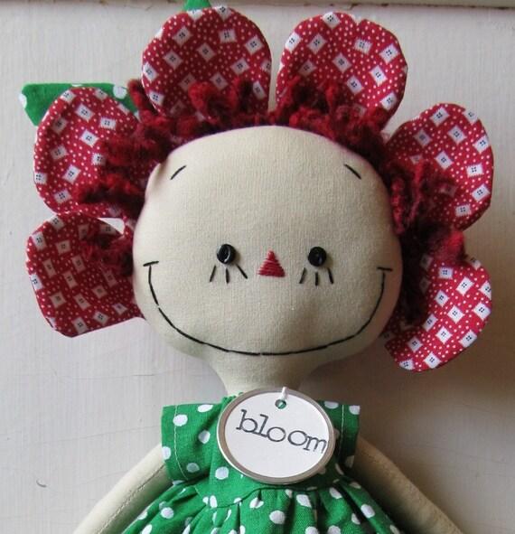 Garden Party Annie in Red handmade cloth rag doll