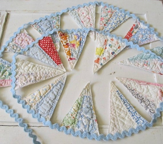 Bunting Banner Garland in Blue Vintage Dresden Plate Quilt and Rick Rack