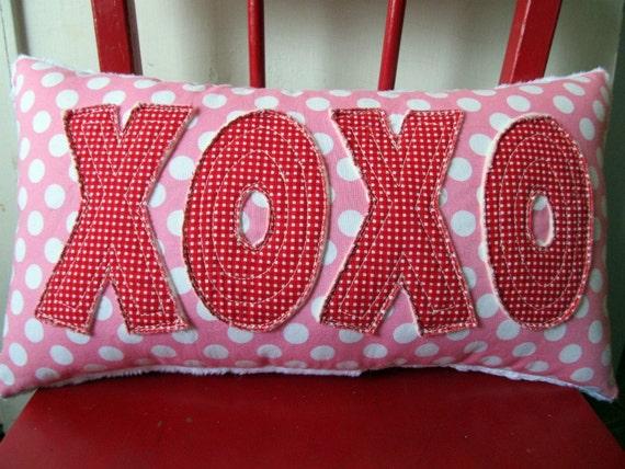 Valentine's Day hugs and kisses XOXO Pillow handmade