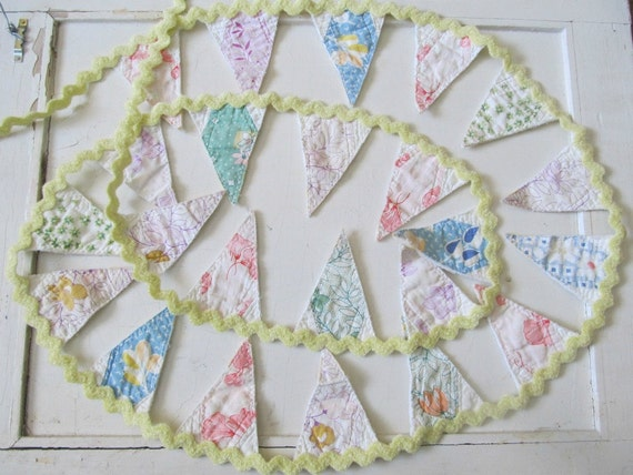 SALE ---- Bunting Banner Garland in Pastels Vintage Quilt and Rick Rack Fabric