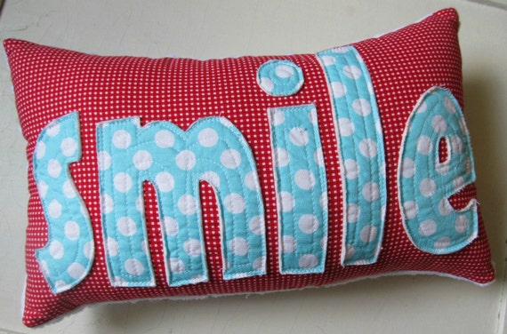 SMILE Pillow in Red Gingham and Aqua Polka Dots handmade