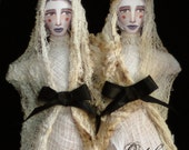 Conjoined Twin Ghost Stuffed Print Dolls
