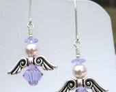 Sparkling Austrian Crystal Birthstone ANGEL Earrings   JUNE - ALEXANDRITE