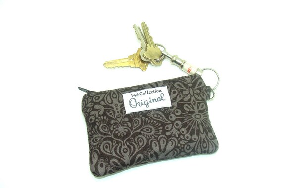 Coin Purse Zippered Wallet -Chocolate Damask  Muchery Quilted Change Purse