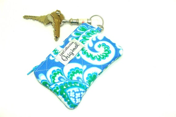 Coin Purse Zippered Wallet - Sapphire Flourish Quilted Coin Purse Change Purse