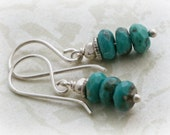 Faceted TURQUOISE Hill Tribe & STERLING Silver Dangle Earrings