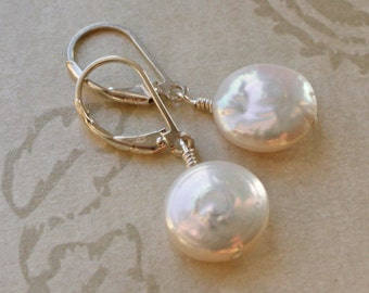 COIN PEARL Sterling Silver Handcrafted Pierced Earrings
