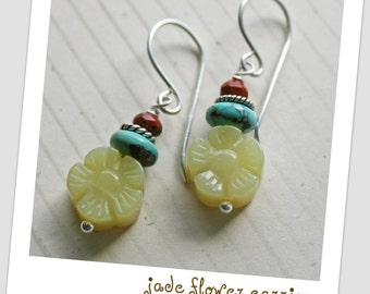 JADE FLOWER Carved Olive Jade TURQUOISE Red Jasper Sterling Silver Earrings
