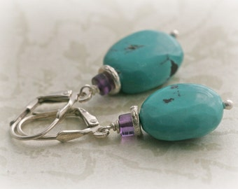 TURQUOISE Amethyst HIll Tribe Sterling Silver Drop Earrings
