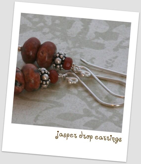 Jasper Drop BALI Sterling Silver Dangle Earrings