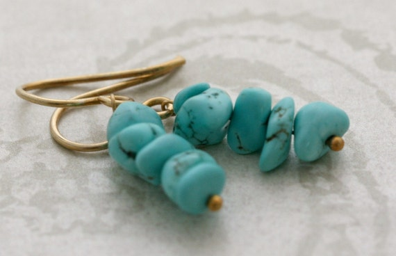 URBAN COWGIRL Gold Vermeil and Turquoise Drop Earrings