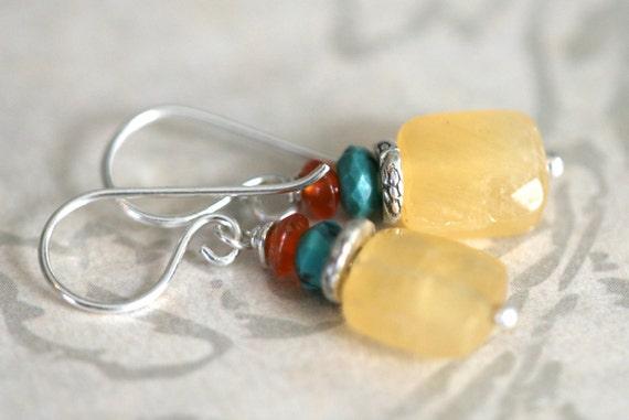 Honey Jade TURQUOISE Carnelian Fine and Sterling Silver Dangle Earrings