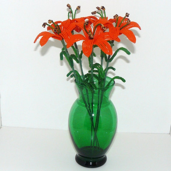 French Beaded Flowers Orange Lilies