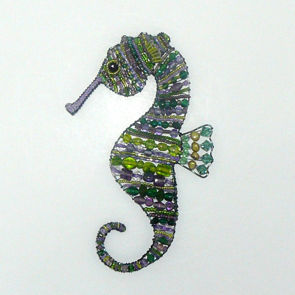 suncatcher beaded seahorse in purple and green by craftymoose