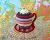 Cup O Joe Pincushion - mini multistripe with red