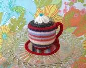 Cup O Joe Pincushion - mini multistripe with red