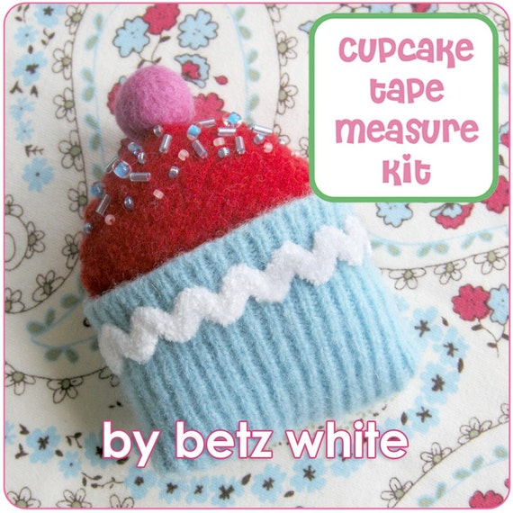 Cupcake Tape Measure KIT - turquoise with red